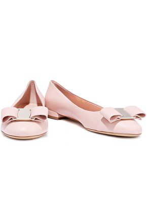 Salvatore Ferragamo Varina Studded Bow Leather Flats In Baby Pink