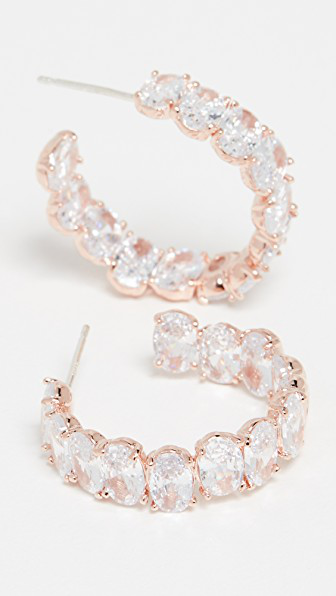 Theia Jewelry Haley Oval Cut Hoops In Rose Gold