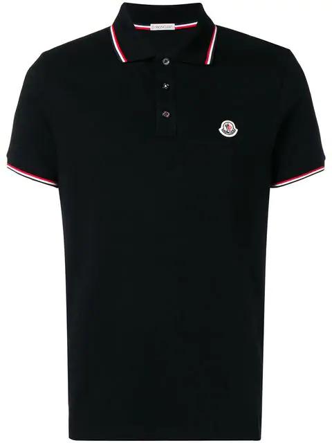 Moncler Men's Striped-trim Polo Shirt In 999 Black