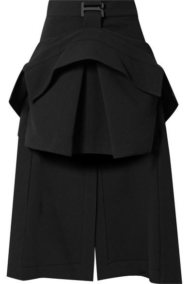 Dion Lee Asymmetric Layered Crepe Midi Skirt In Black
