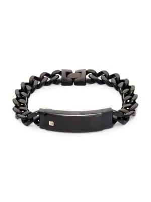 Saks Fifth Avenue Stainless Steel, 14k Yellow Gold & Diamond Id Bracelet In Black