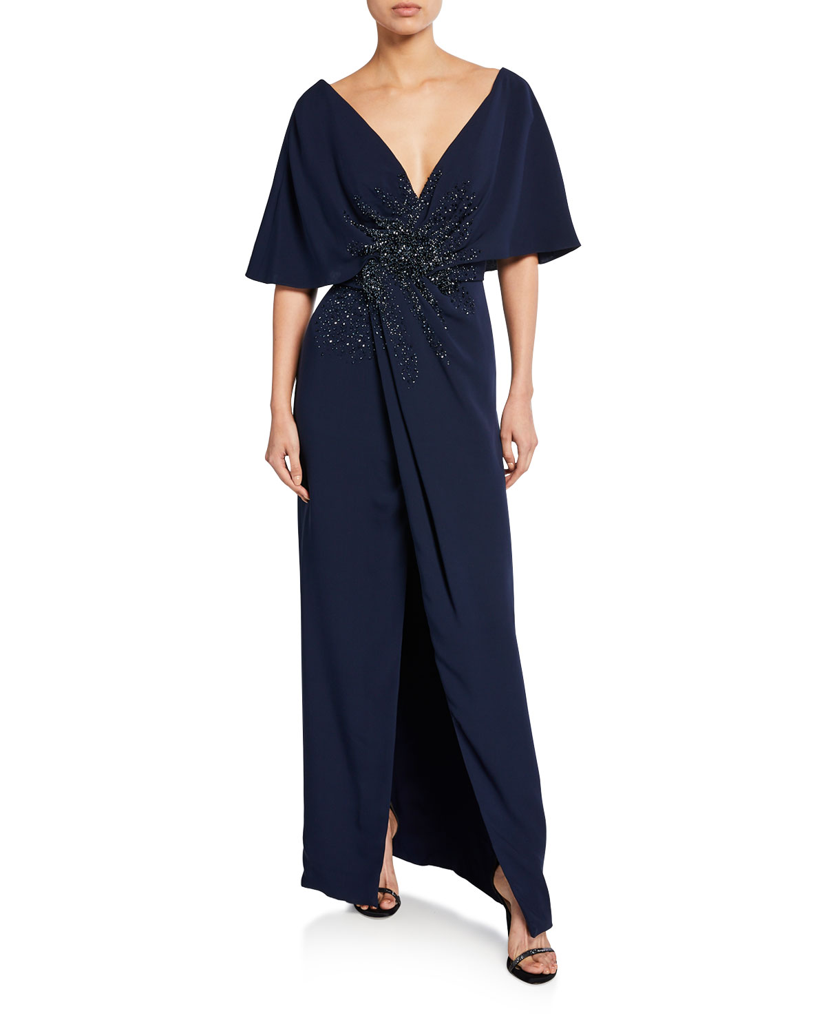 J Mendel Embroidered-Front Half-Cape Gown In Navy
