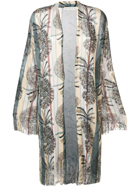 Etro Paisley Print Fringed Knit Coat In Neutrals