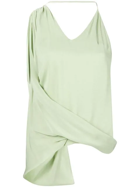 Jacquemus Asymmetric Gathered Top In Green