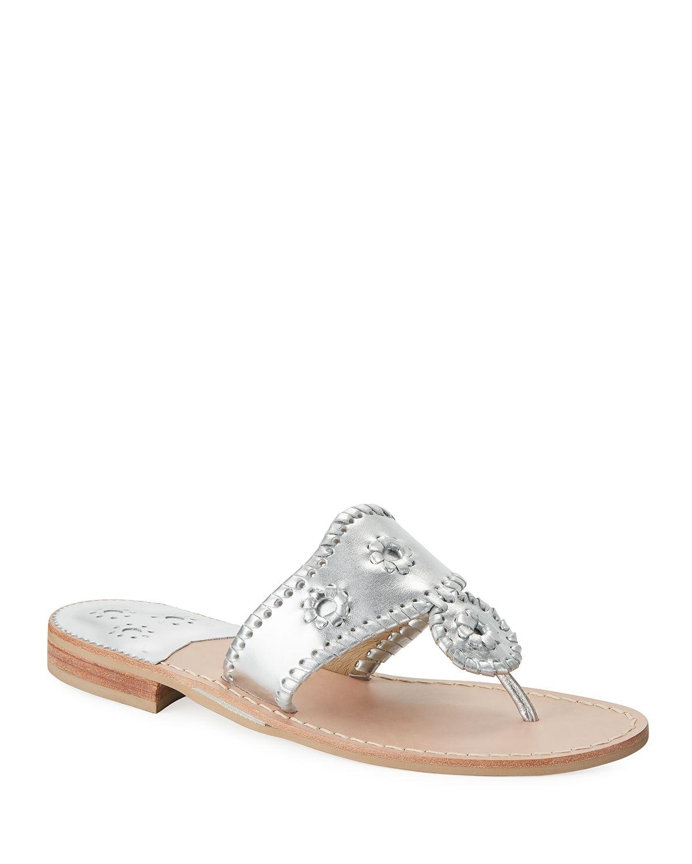 13825fd89b5f Jack Rogers Jacks Flat Thong Sandals In Silver