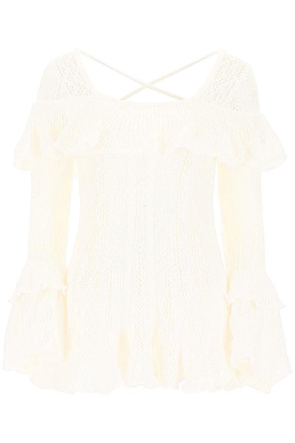 Self-portrait Cotton Maxi Knit Top In White