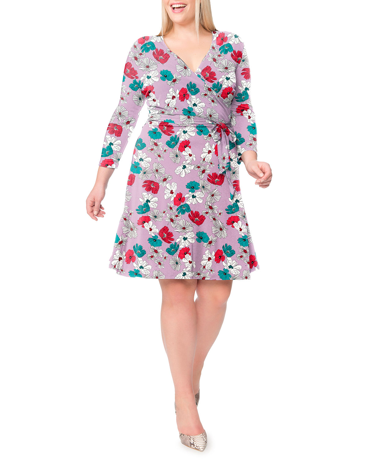 Plus Size Perfect Printed Wrap Dress in Purple