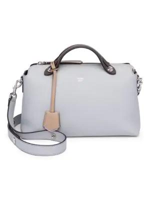 Fendi 'Medium By The Way' Colorblock Leather Shoulder Bag - Grey In Tan