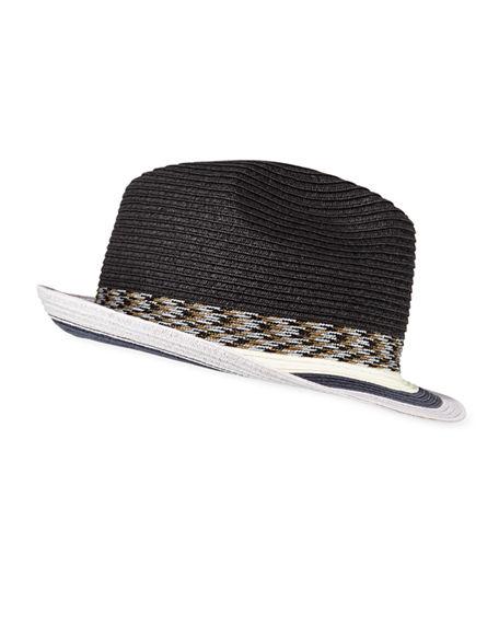 38f97b8a7 Men's Striped-Brim Straw Fedora Hat in Black