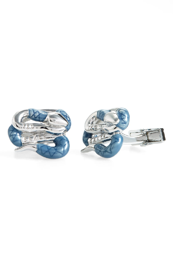 Ted Baker Mester Coiled Snake Cufflinks In Silver Col