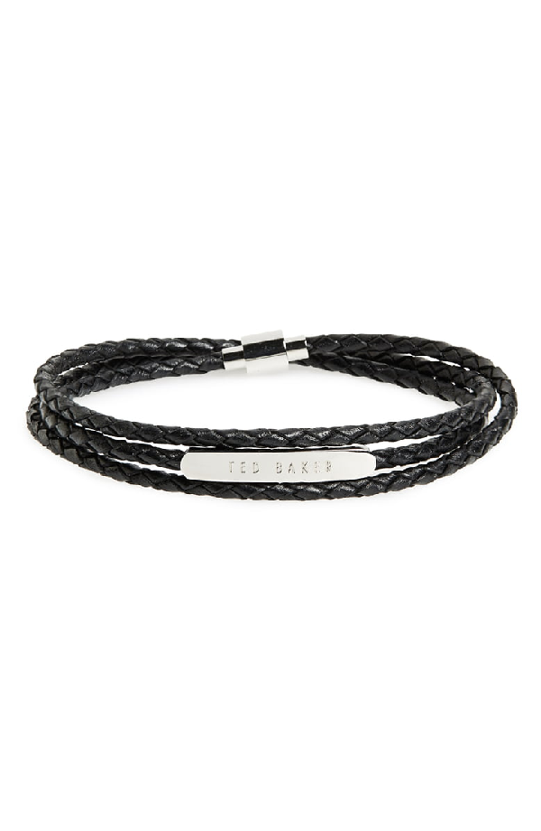 81c73fbe462 Ted Baker Basser Triple Strand Logo Bar Wrap Bracelet In Black ...
