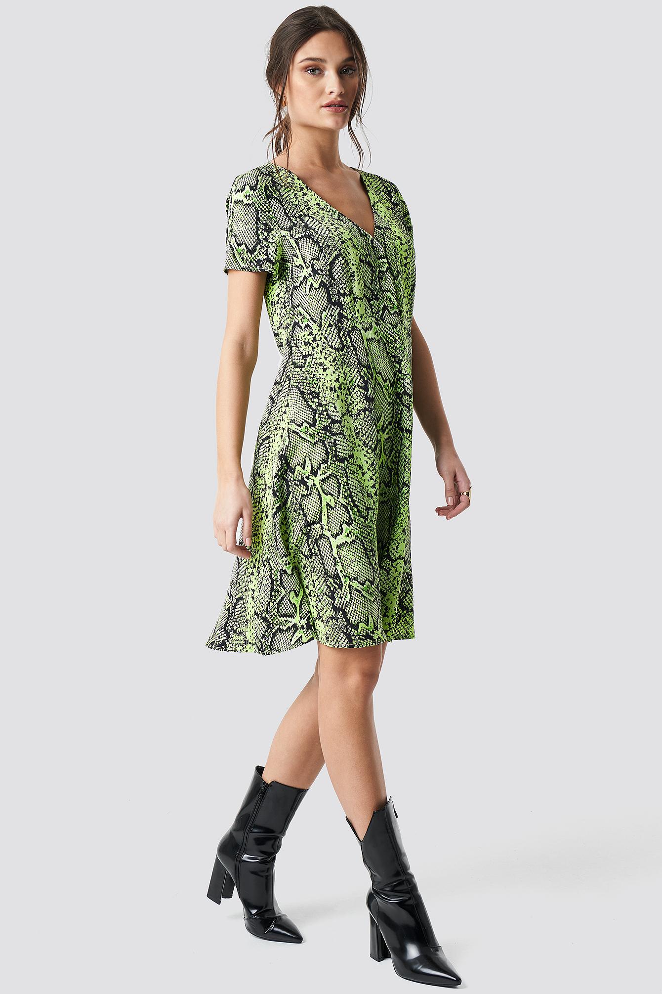 2a626f5f4307 Na-Kd Snake Print Button Up Short Sleeve Dress - Green | ModeSens