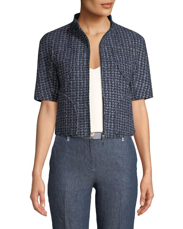 Armani Collezioni Emporio Armani Short-sleeve Boucle Jacket In Blue