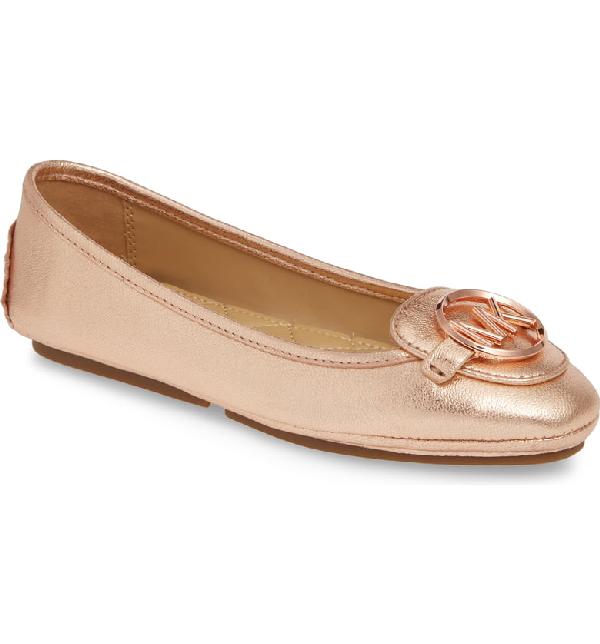 c0d6daeb Michael Michael Kors Lillie Logo Ballet Flat In Rose Gold Tumbled Leather