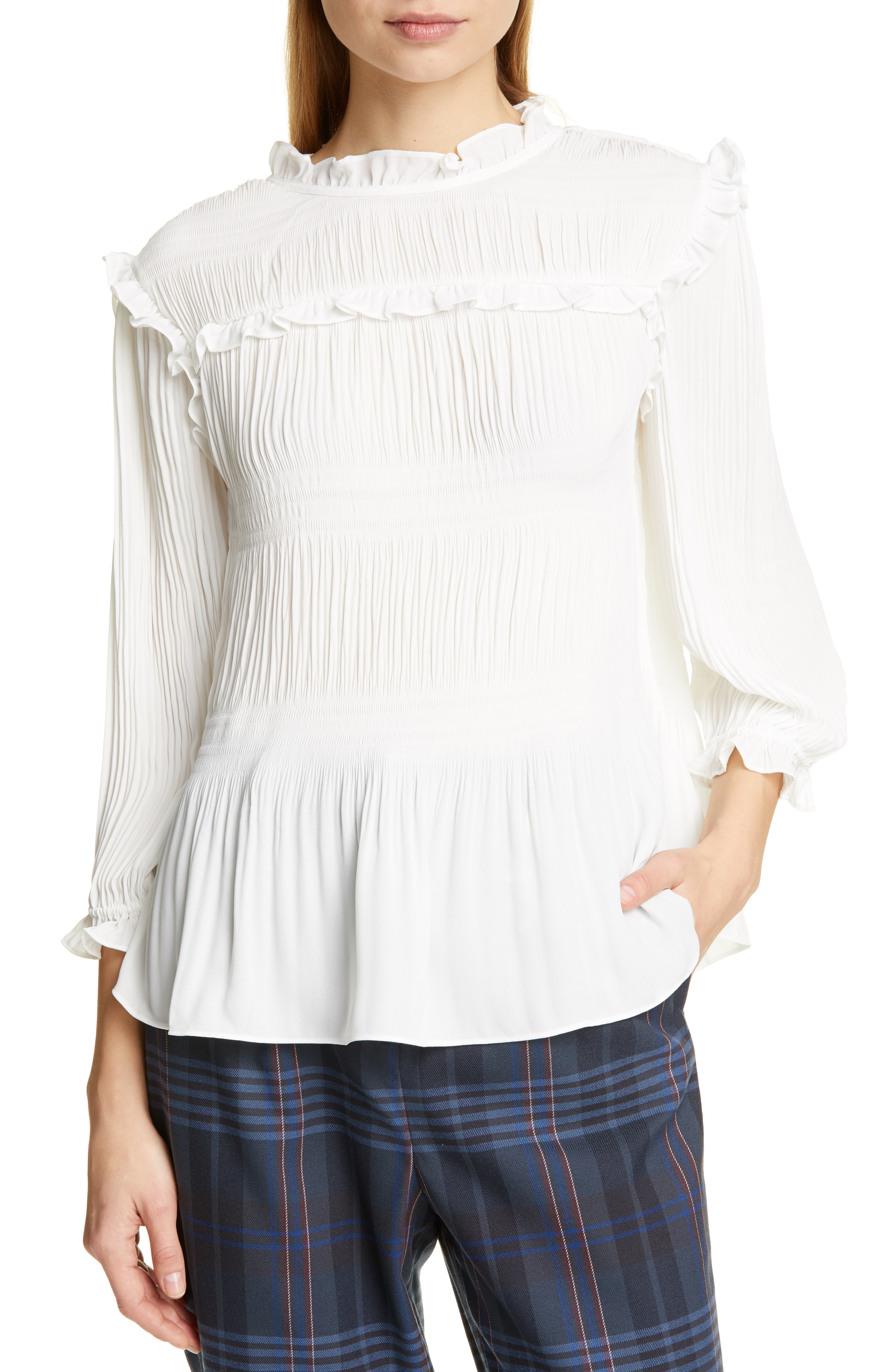 Ted Baker Airlie Pleat High Neck Blouse In Ivory