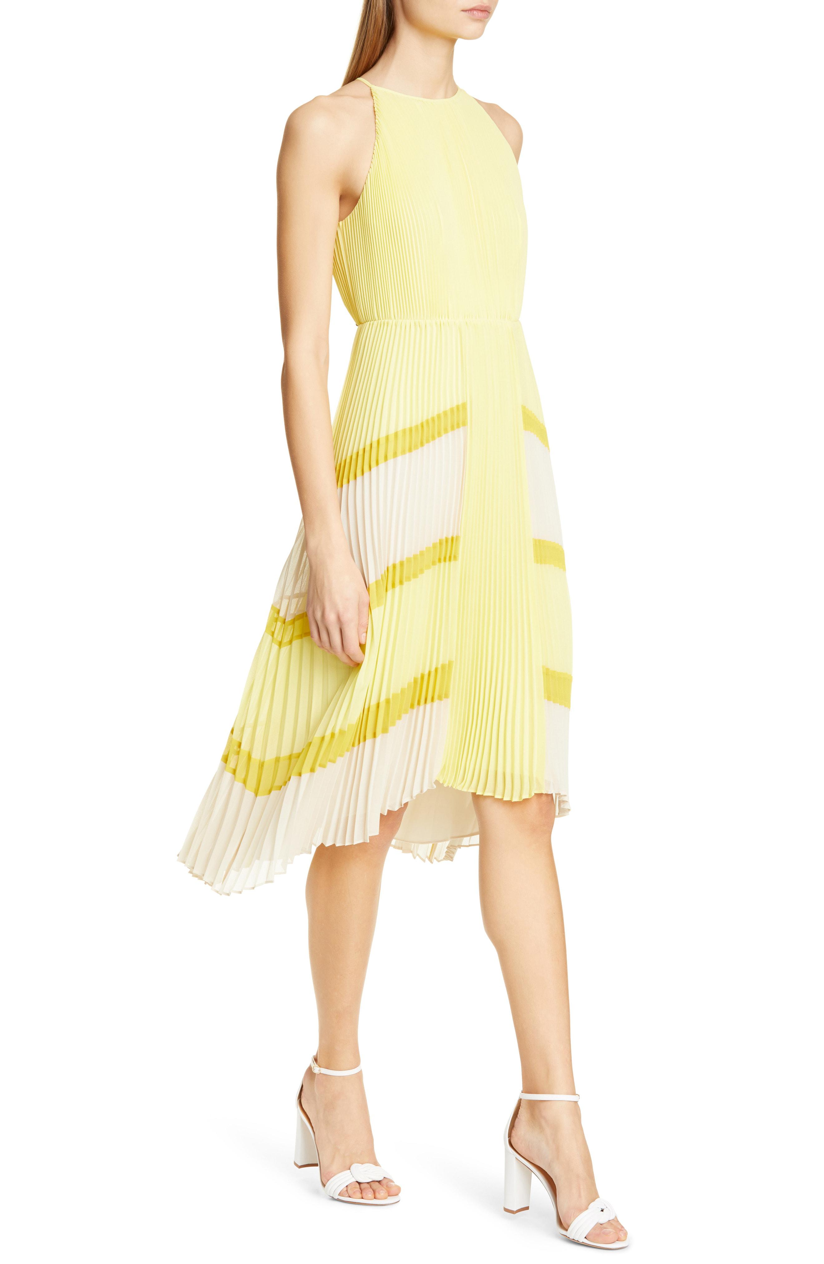 aca071ca82e55 Ted Baker Nellina Pleated Midi Dress In Yellow