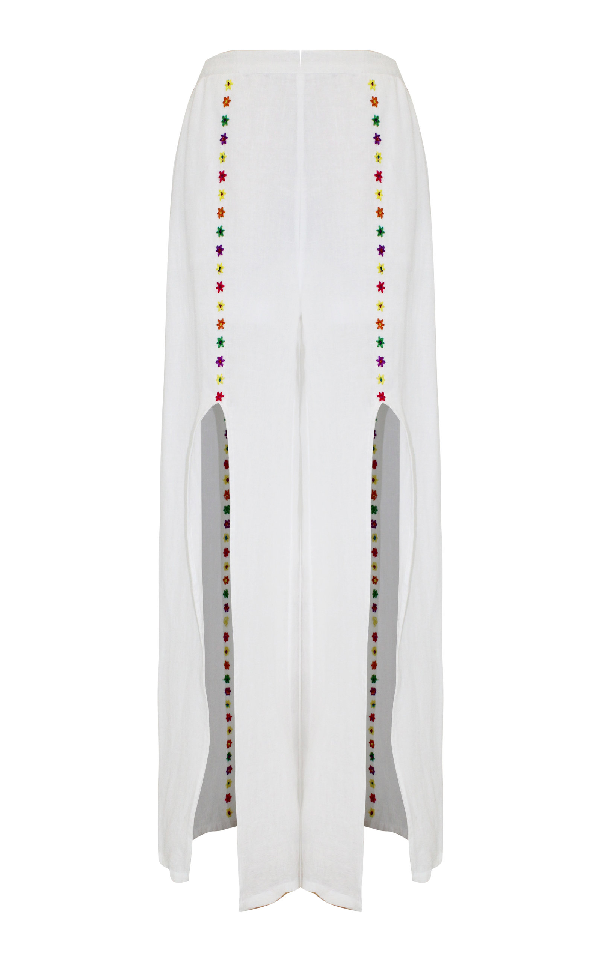 All Things Mochi Gaho Embroidered Split Leg Linen Pants In White