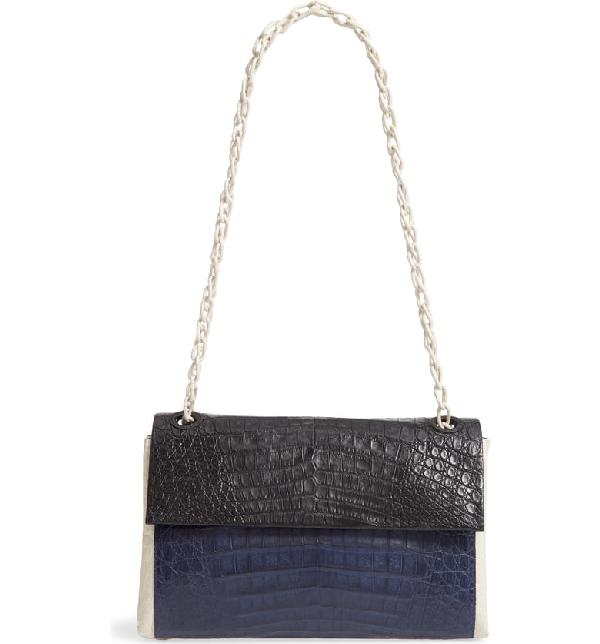 Nancy Gonzalez Medium Madison Genuine Crocodile Shoulder Bag - Black In Black / Navy/ Light Grey