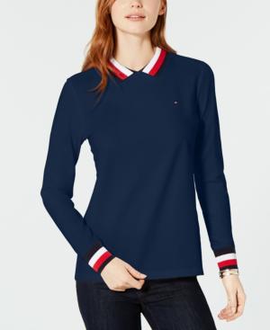 da21a824b323 Tommy Hilfiger Flag Long-Sleeve Polo Top