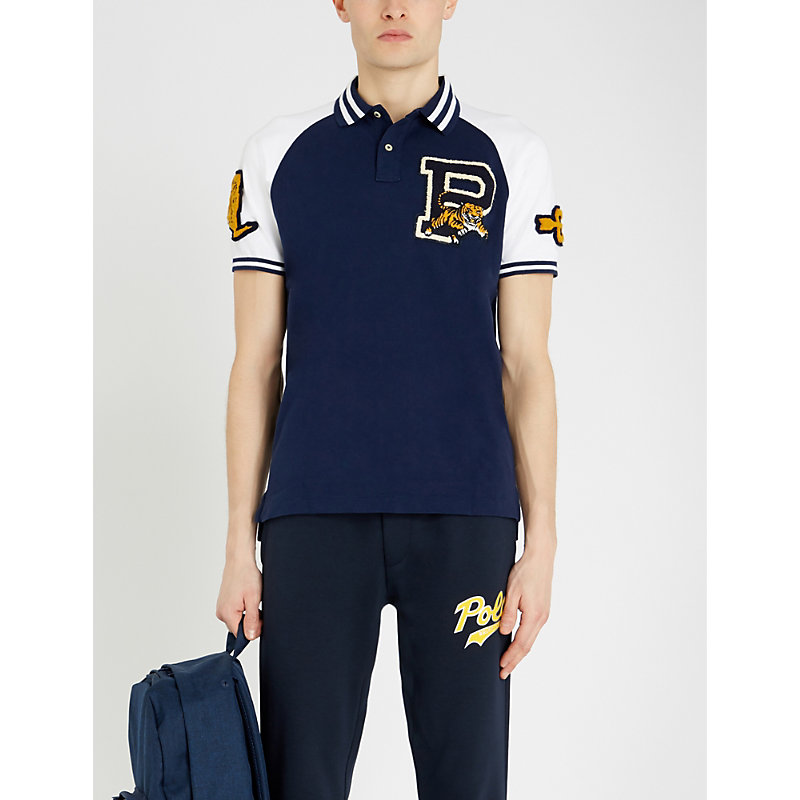 6f111790 Polo Ralph Lauren Contrast Logo-Patch Slim-Fit Cotton-PiquÉ Polo Shirt In