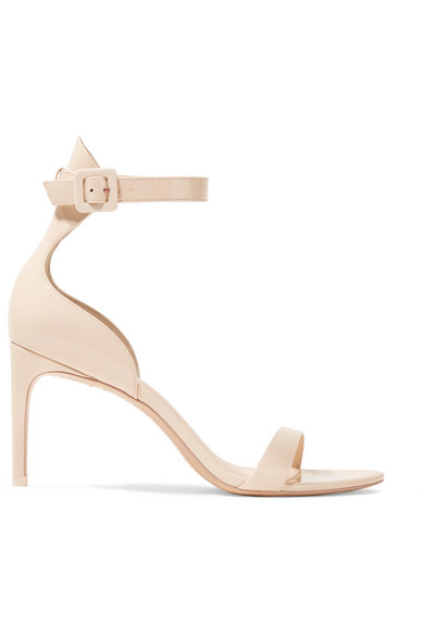 Sophia Webster Nicole Patent-leather Sandals In Beige