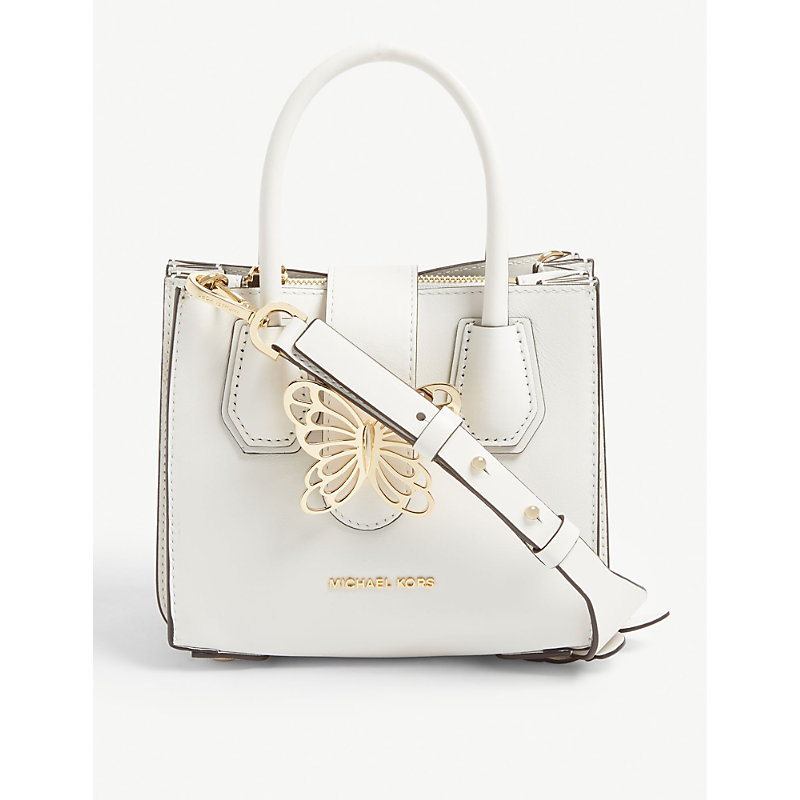 f4fe0a902f35 Michael Michael Kors Mercer Butterfly Leather Tote In Optic White ...