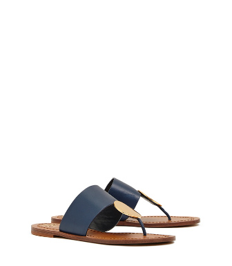 3774c450ee558f Tory Burch Patos Disk Sandals In Ink Navy   Gold