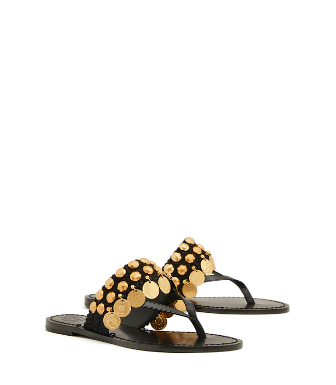 8cdcfd3b63e2f Tory Burch Patos Coin Thong Sandals In Perfect Black   Perfect Black ...