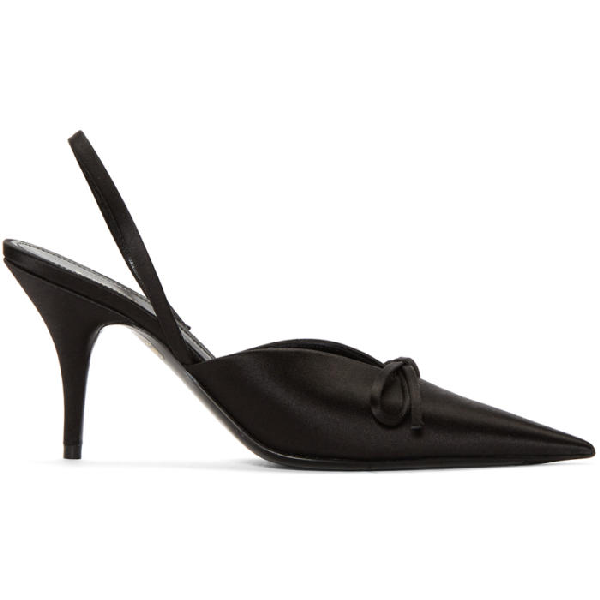 running shoes the sale of shoes online for sale BALENCIAGA BLACK SATIN SLINGBACK HEELS