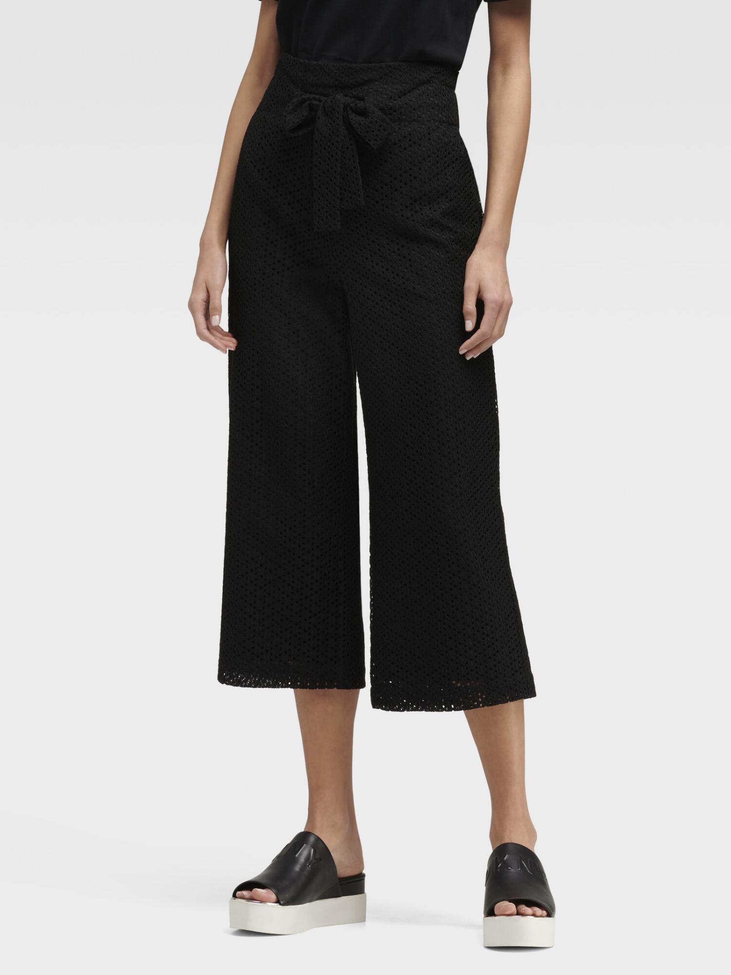 Donna Karan Cropped Eyelet Pant In Black