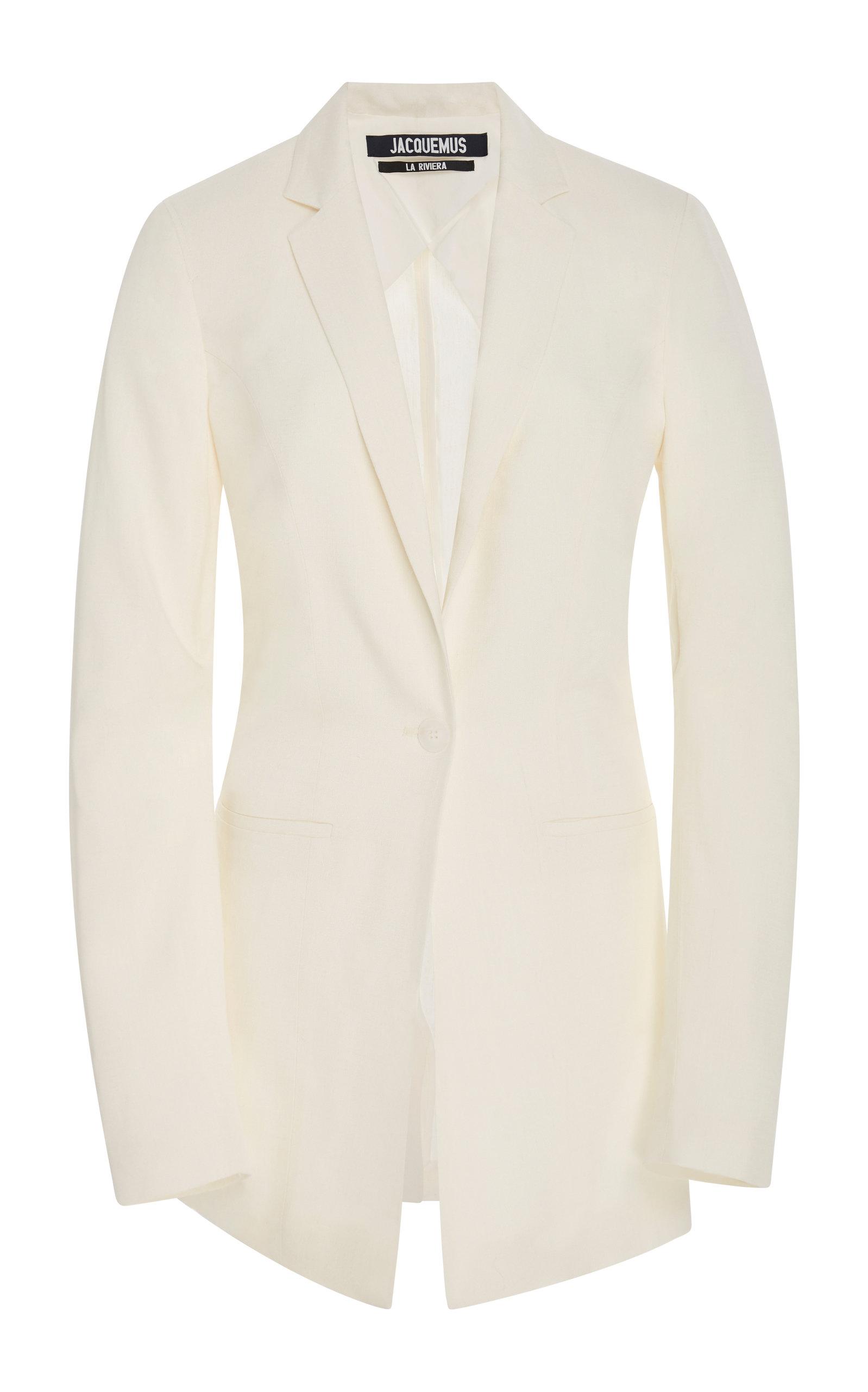 Jacquemus Crepe De Chine Blazer In White