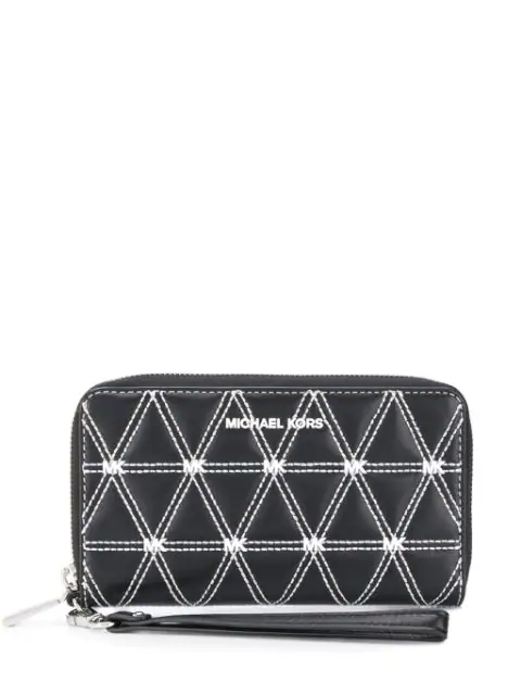 Michael Michael Kors Large Quilted Wallet In Black