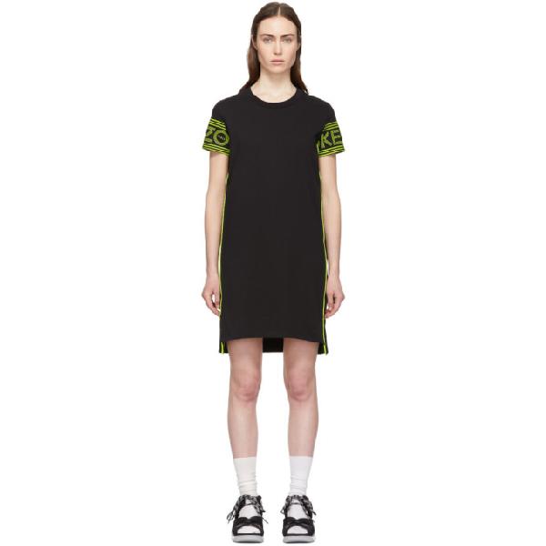 Kenzo Neon Printed Cotton-jersey Midi Dress In 99b -black