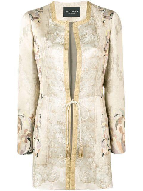 Etro Tie Waist Coat In Neutrals