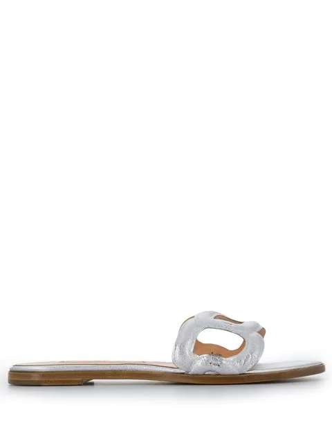 Rupert Sanderson Maeve Flat Sandals In Silver