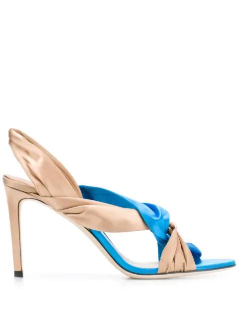 Jimmy Choo Lalia 100 Leather Sandals In Blue