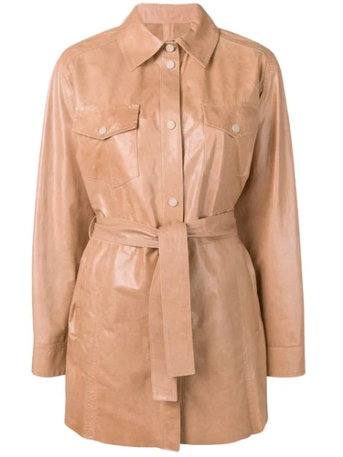 Drome Belted Leather Shirt-coat In Neutrals