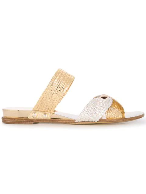 Casadei Braided Strap Flat Sandals In Gold
