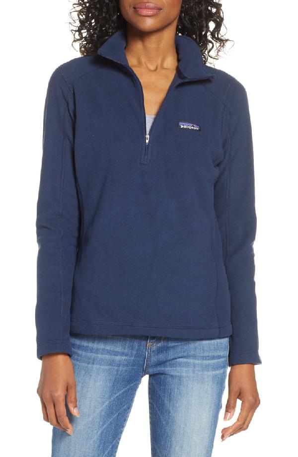 Patagonia Micro D Quarter-Zip Fleece Pullover In Navy Blue