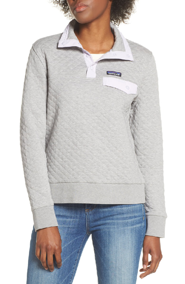 Patagonia Snap-T Quilted Pullover In Grey W/ Pipe Purp