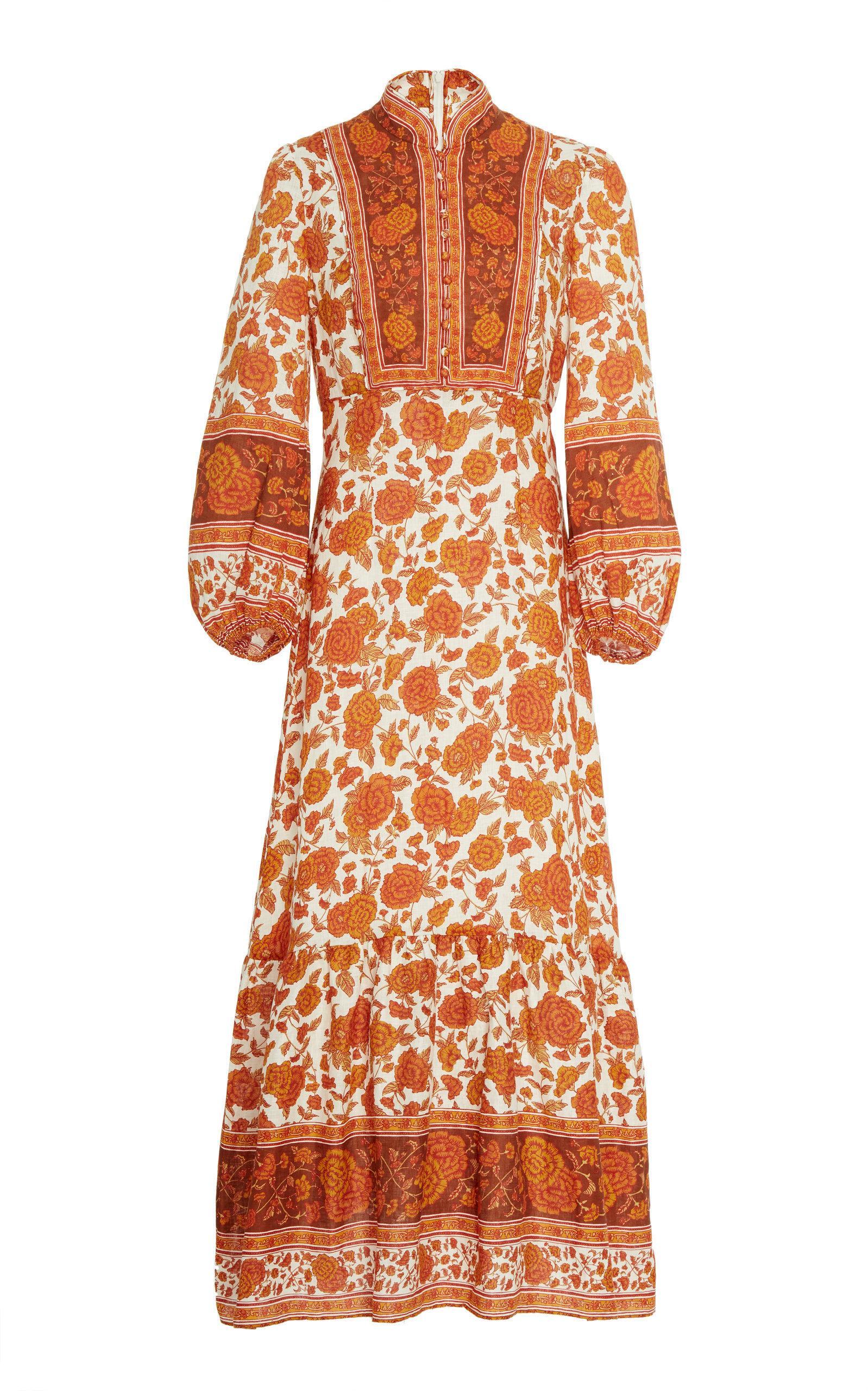 0f14206858 Zimmermann Amari Floral-Print Linen Maxi Dress