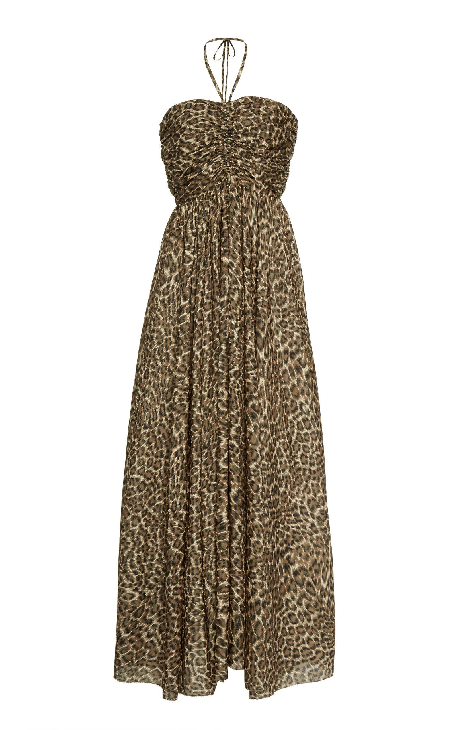 3ed7ecb0310f5b Zimmermann Suraya Ruche Silk Leopard Dress In Animal   ModeSens