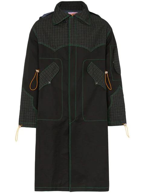 Boramy Viguier Check Print Panelled Cotton Blend Parka Coat In Black