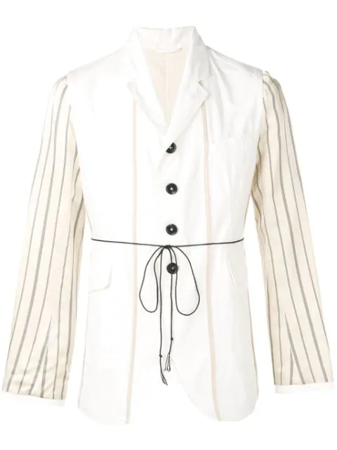 Ann Demeulemeester Lightweight Blazer With Stripes In Neutrals