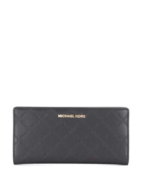 Michael Michael Kors Embossed Logo Wallet In Black