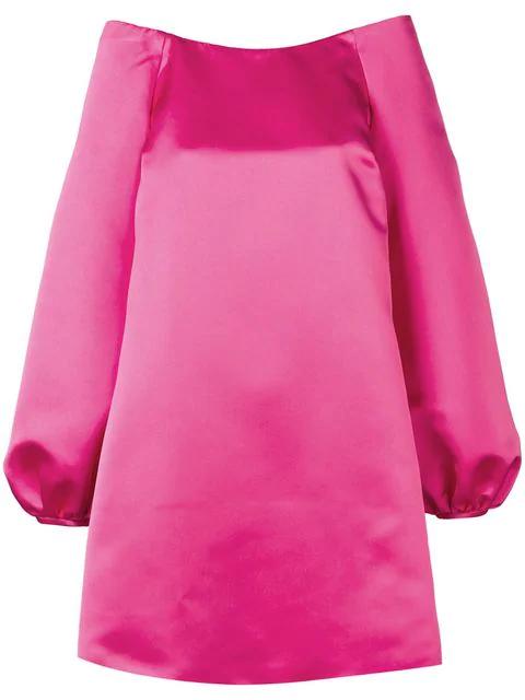 Sara Battaglia Off-shoulder Mini Dress In Pink