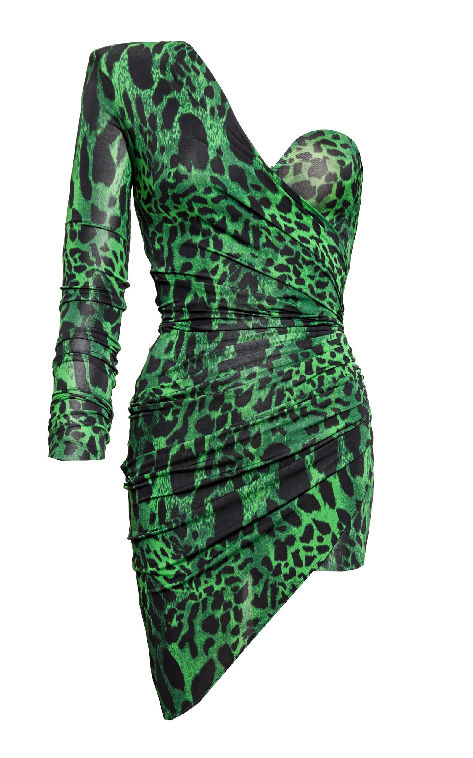 7ae5bacacca8b Alexandre Vauthier One Shoulder Printed Georgette Dress In Green ...