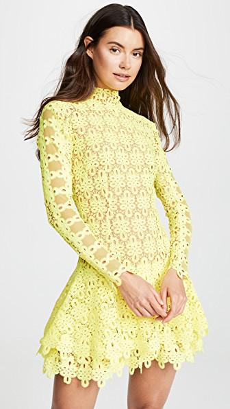 Jonathan Simkhai Yellow Guipure Lace Mini Dress In Neon Yellow