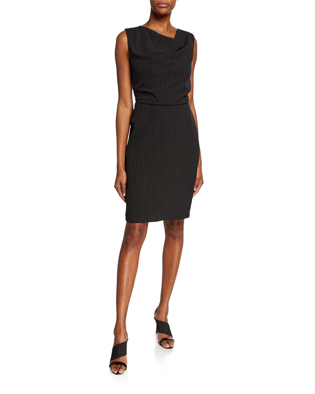 Cowl Neck Sheath Dresses: Donna Karan Striped Cowl-Neck Sleeveless Sheath Dress In