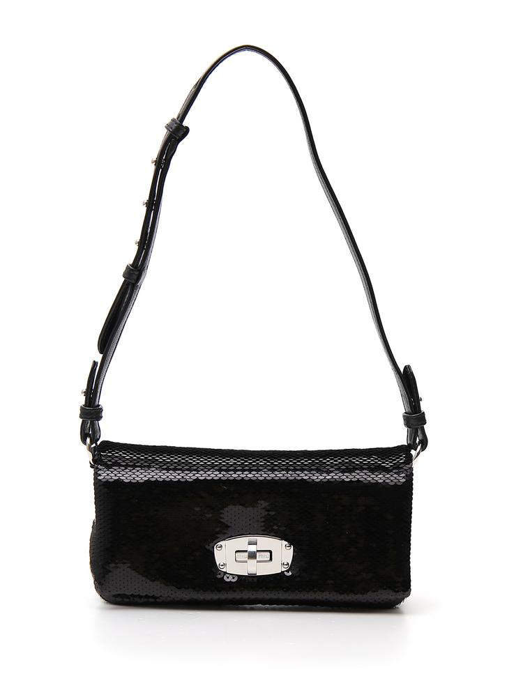 827093d82be Miu Miu Sequined Crystal Shoulder Bag In Black